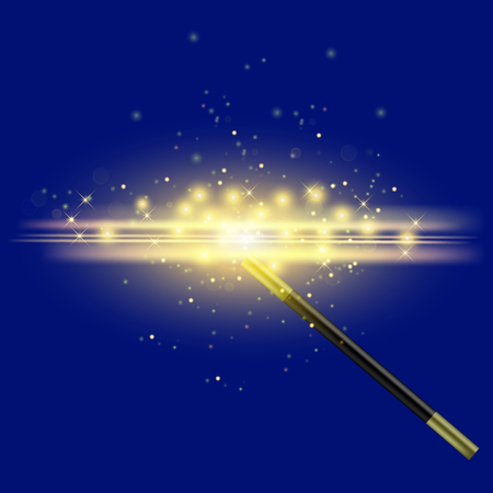 Realistic Magic Wand with Starry Lights on Blue Background 版權商用圖片