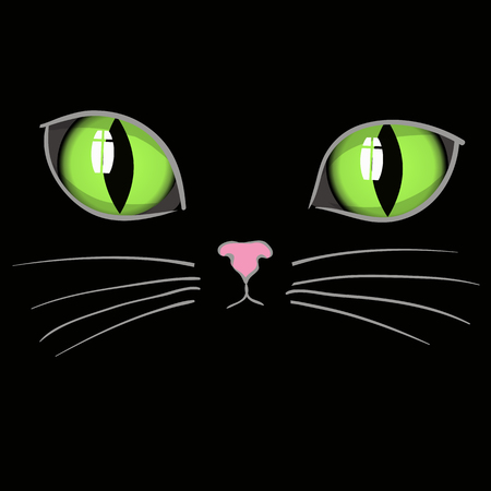 Black Cat Head with Green Eyes. Animal Background