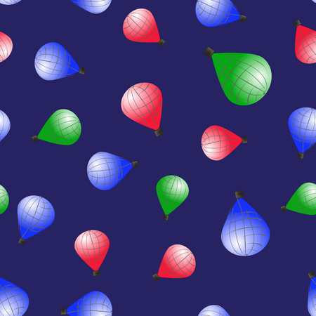 Colored Stratospheric Balloons Seamless Pattern on Blue Background Stock Photo