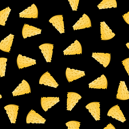 Cheese Slices Seamless Pattern on Black. Milk Product Background
