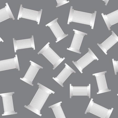 Greek Column Seamless Pattern on Grey Background Stock Photo