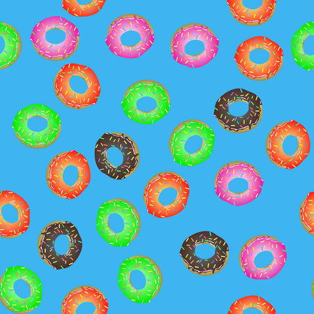 Colorful Fresh Sweet Donuts Seamless Pattern on Blue Background. Delicios Tasty Glazed Donut. Cream Yummy Cookie.