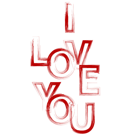 I Love You Red Text Isolated on White Background Stock Photo