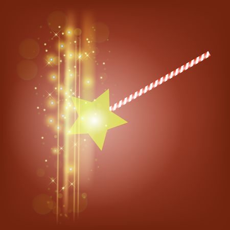 Realistic Magic Wand with Starry Lights on Red Background Stock Photo