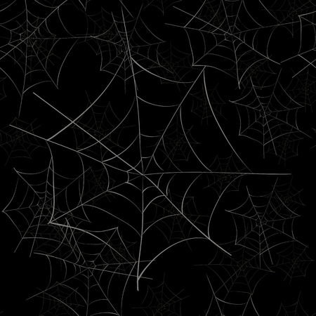 Spider Web Seamless Pattern on Black Background Stock Photo