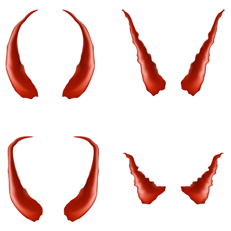 Set of Red Horns Isolated on White Background Stock Photo