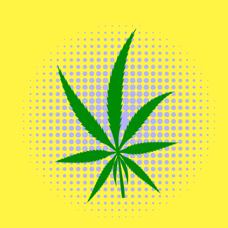 Green Cannabis Leaves Dotted Background. Marijuana Halftone Pattern Stock Photo
