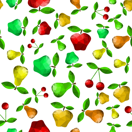 Polygonal Pear Apple Seamless Pattern Isolated on Green Background