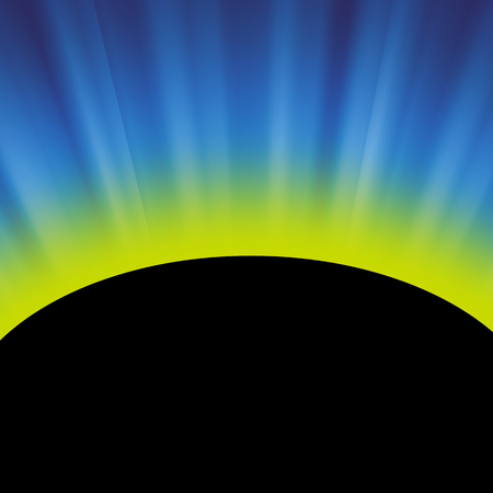 Full Solar Eclipse on Blurred Blue Background
