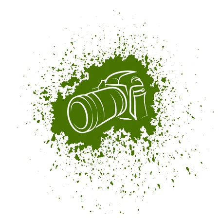 Digital Camera Icon. Photographic Poster on Green Blob Background