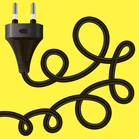 Black Plug with Cable on Yellow Background Stock Photo