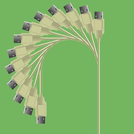 Set of Cables Isolated on Green Background Stock Photo
