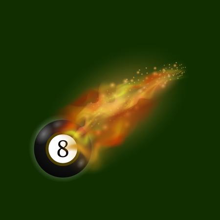 Boule de billard noir sur la flamme de feu isolé sur fond vert Banque d'images