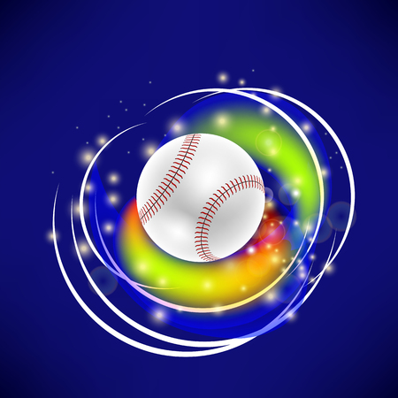 Flying Baseball Ball with Yellow Sparkles Isolated on Blue Background Illustration