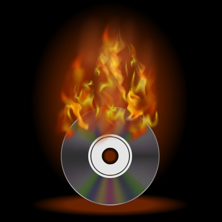 Digital Burning Compact Disc with Fire and Flame on Dark Background Stock Photo