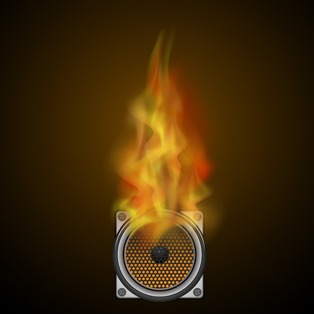Musical Black Speaker and Fire Flame Isolated on Blurred Dark Background Stock Photo