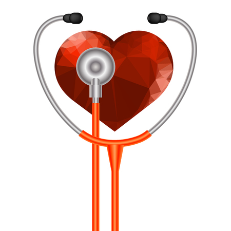 Stethoscope Heart Symbol. Medical Acoustic Instrument with Cord Isolated on White Background