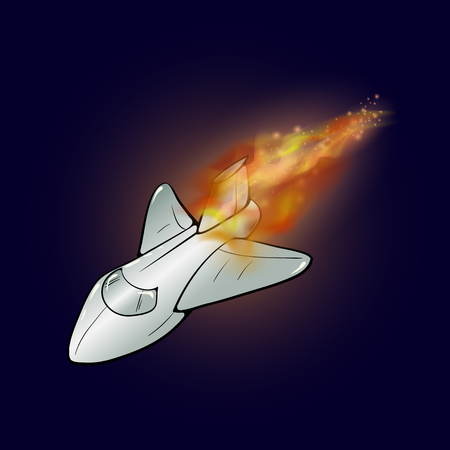 on top of the world: Burning Plane with Fire Flame Isolated on Blue Sky Background Stock Photo