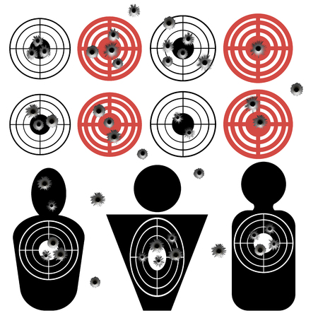 Set of Different Bullet Holes on White Background