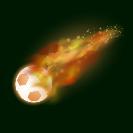 Burning Sport Football Icon with Sparcles and Flares on Dark Background