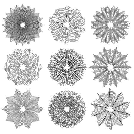 Set of Circle Geometric Ornaments. Guilloche Rosettes Isolated. Ornamental Round Decor Stock Photo