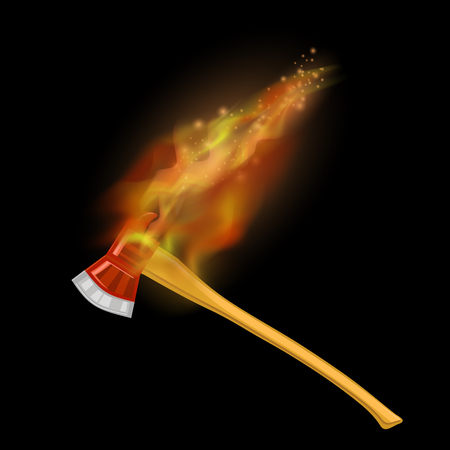 Burning Firefighter Axe Icon with Fire Flame Isolated on Black Background