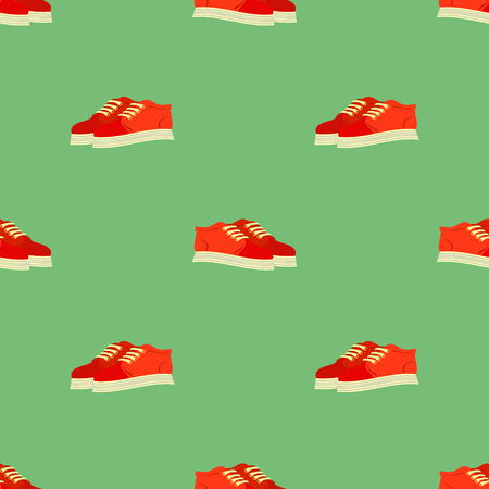 Sport Red Shoes Seamless Pattern Isolated on Green Pattern