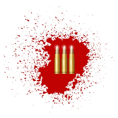 Bullet Set Isolated on Red Blood Splatter