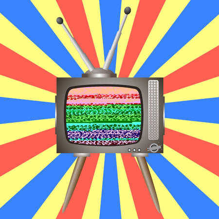 Old Broken Television on Colorful Background. Glitch on Retro TV Screen