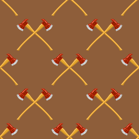 dangerous work: Firefighter Cross Axes SeAmless Pattern Isolated on Brown Background