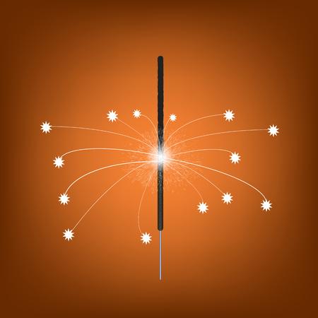 Burning Indian Light Sparkler. Bengal Fire Firework Isolated on Orange Gradient Background. Salute for Celebration Stock fotó