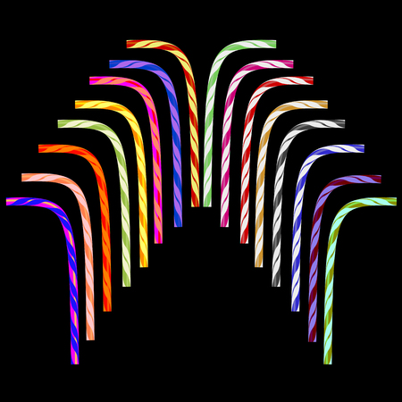 Colored Striped Drinking Straw Set Isolated on Black Background