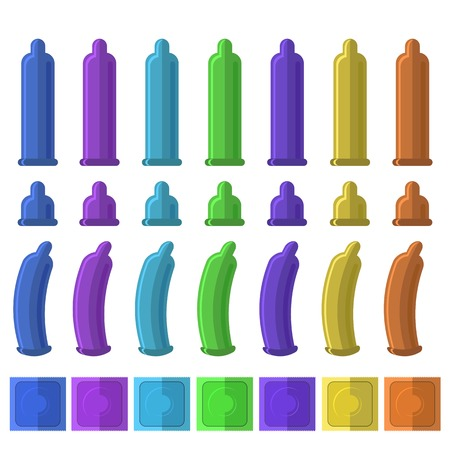 Set of Colored Condoms. Illustration