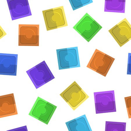 Set of Colored Condoms Isolated on White Background Illustration