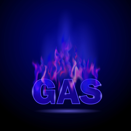 Gas Burning Fire Isolated on Blurred Black Background