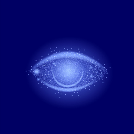 Geometric Polygonal Eye Isolated on Blue Sky Background