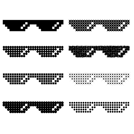 Set of Different Pixel Glasses Isolated on White Background