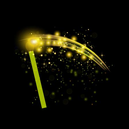Burning Match with Sparkles Isolated on Black Background Illustration