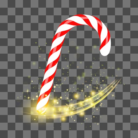 Sweet Striped Candy Cane  on Grey Checkered Background