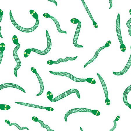 Green Snake Seamless Background. Animal Pattern. Attack Crawling  Danger Predator