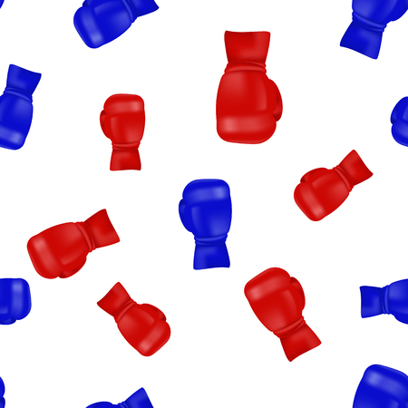 Red Blue Boxing Gloves Seamless Pattern Isolated on White Background.