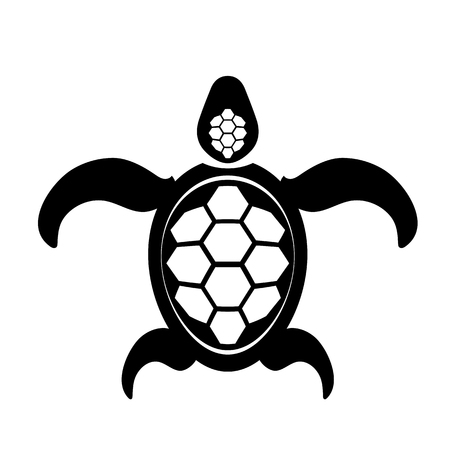 Ocean Turtle Icon Isolated on White Background. Sea Graphic Simple Animal Logo.