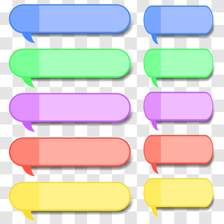Colored Speech Bubbles on Grey Checkered Background