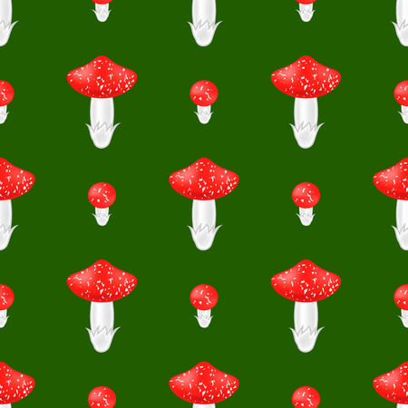 Red mushroom seamless pattern on green background.