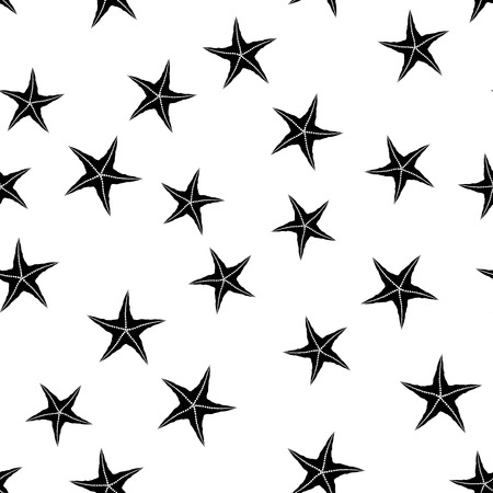 Starfish Silhouette Seamless Pattern on White Background 일러스트