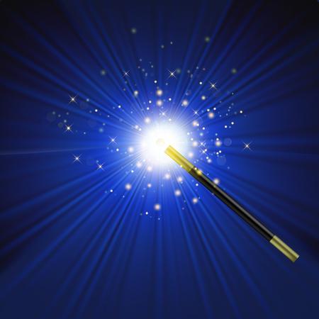 파란색 배경에 별이 빛나는 현실적 마술 지팡이
