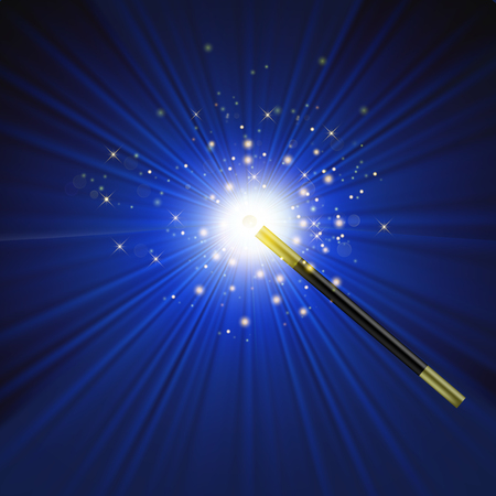 Realistic Magic Wand with Starry Lights on Blue Background Stock Photo