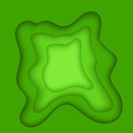 Green Cutting Blurred Pattern. Wave Texture. Abstract Background with Paper Cut Shapes Illustration