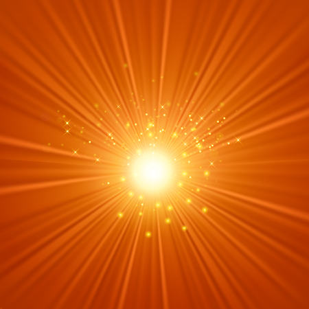 Abstract Sun Background. Yellow Summer Pattern. Bright Background with Sunshine. SunBurst with Flare and Lens.  イラスト・ベクター素材