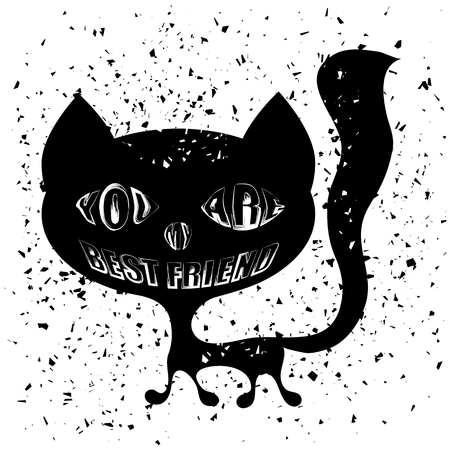 Typography Design of Print with Cat Silhouette on Grunge Background. Cats Quote Banner Banco de Imagens